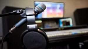 David Pugh Microphone and headphones in studio