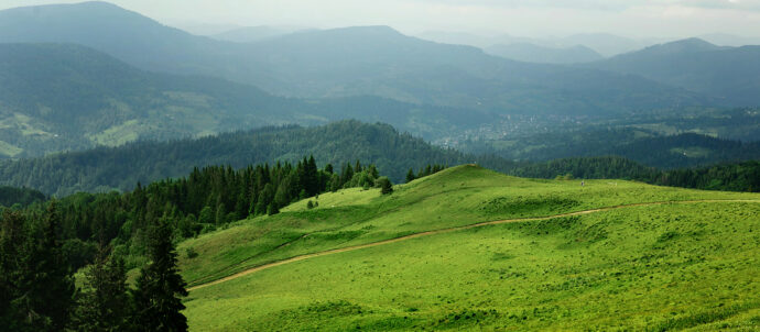 Beautiful view of mountains hills and trees