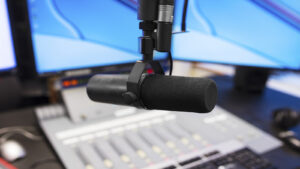 Ed Asher, The Doctor, Microphone in modern radio station broadcasting studio